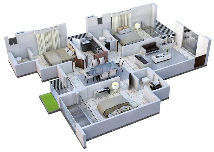 1375 Sq Ft Apartment Design