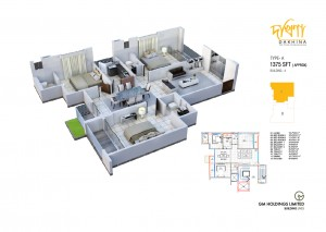 1375 Sq Ft Apartment Layout