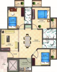 Floor Plan Flat 1 (1500 sft.)