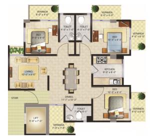 Floor Plan Flat 2(1350 sft.)