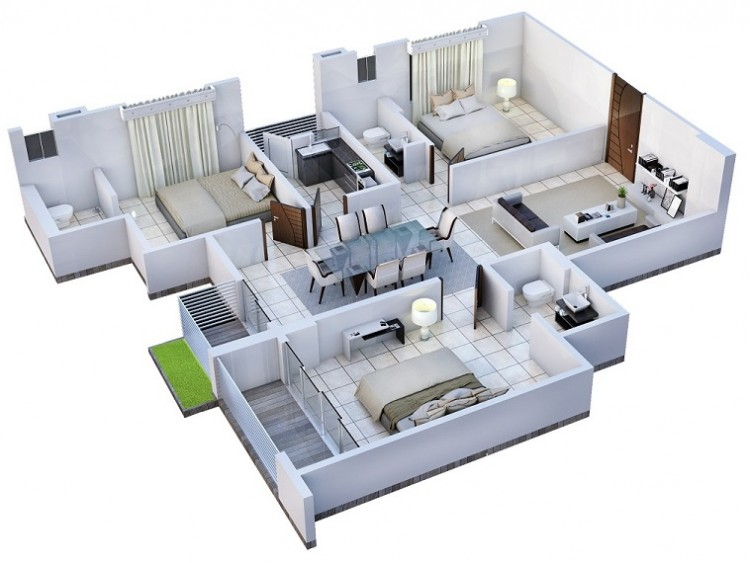 1150 Sq Ft Apartment Design